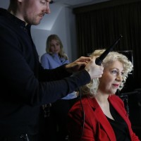 BAFTA Chair Anne Morrison has her hair styled by a Charles Worthington stylist backstage ahead of the EE British Academy Film Awards nominations announcement on 9 January 2015