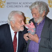 God only nose what legendary performer Bernard Cribbins is saying to this visiting Clanger, hel
