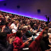 The audience applaud Bovell following his remarkable screenwriters' lecture.