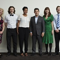 From left to right: Anne Morrison, Sam Coleman, Rienkje Attoh, Josh Berger, Amanda Berry, Sam Hughes