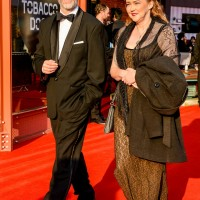 Eve Online creators Bergþór Hauksson and Helga Bjarnadóttir walk the red carpet