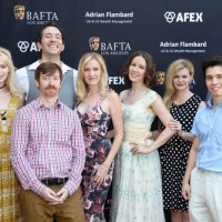(L-R) Members of the BAFTA LA Newcomers Program Chloe Farnworth, Julian Booth, Adam Blake, Anna Sambrooks, Vicky Petela, Denise Nicholson, James Hansen, and Ben Wilkinson