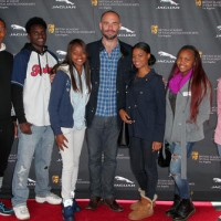 Students Ahmir Tyree, Shaquiora Hawkins, Jeanie Gardner, Chaymne Melwood and Krystal Carpenter with BAFTA member Paul Blackthorne, at BAFTA LA's 2015 Washington Prep High School Film Festival