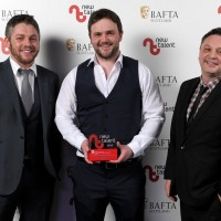 Pictured left to right - David Lumsden, Anthony Devine, presenter Mark Leese who won Design for 'Boat'