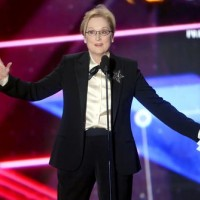 Streep delivers her acceptance speech for the Stanley Kubrick Britannia Award for Excellence in Film.
