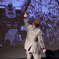 Simon Beaufoy referencing to some of his images at the lecture. (Photography: Jay Brooks)