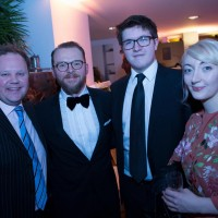 Justin Fletcher and Simon Pegg with YGD winner Dan Pearce and BAFTA Scholar Emily Ellis