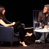 Jason Solomons discusses Brosh McKenna's craft and career in from of the live audience at BAFTA. (Photography: Jay Brooks)