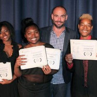 Taijaye Stringer, Branisha James, Keyjaan Stringer and BAFTA member Paul Blackthorne at BAFTA LA's 2015 Washington Prep High School Film Festival