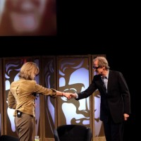 Francine Stock welcomes Bill Nighy to the BAFTA stage. (Picture: BAFTA/ J.Simmonds)