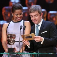 Martin Freeman and Gugu Mbatha-Raw excitedly announce the Cinematography award