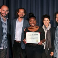 BAFTA Members Paul Blackthorne and Sharyn Ross, NYFA's Kelly Gardner and Todd Lien, pose with Washington Prep Student Scholarship Winner Branisha Jones