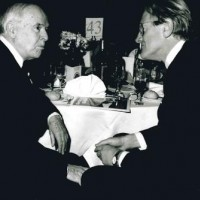 Welsh actor Kenneth Griffiths and John Hefin MBE at the 1995 BAFTA Cymru Awards ceremony.
