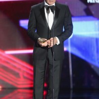 Honoree Harrison Ford accepts the Albert R. Broccoli Britannia Award for Worldwide Contribution to Entertainment.