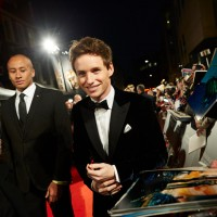 Eddie Redmayne wears Armani as he arrives on the red carpet