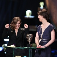 Nina Gantz and Emilie Jouffroy celebrate winning the British Short Animation award at the EE British Academy Film Awards