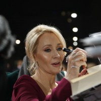 JK Rowling signs autographs for fans