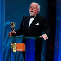 Lord Attenborough prepares to present the Academy Fellowship to his friend and colleague Sir Anthony Hopkins in 2008.