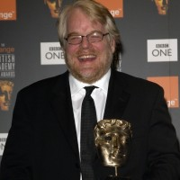 Philip Seymour Hoffman after winning a BAFTA award for his performance as Truman Capote in Bennett Miller's Capote.