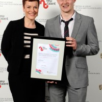 Janet Archer, CEO Creative Scotland & Michael Crumley winner of Writer for Hannah