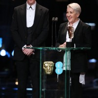 Damian Martin and Lesley Vanderwalt accept their BAFTA award for Make Up & Hair for Mad Max: Fury Road