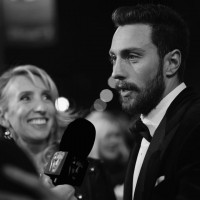 Sam Taylor-Johnson and Aaron Taylor-Johnson are interviewed on the red carpet