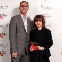 Theresa Moerman Ib - Winner in the Factual Category for 'The Third Dad' with presenter Andrew Jackson
