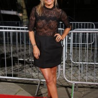Katy Hill strikes a pose on the red carpet at Tobacco Dock in London