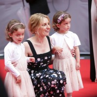 Laura Carmichael poses with the twins who play her daughter Marigold on the television series.