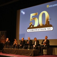 Mark Lawson presented Tony Warren with a facsimile copy of the first ever Coronation Street script, copied from the original document which remains in the BFI archive. Pic: Steve Butler