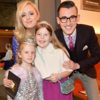 Ben Shires and Katie Thistleton pose with youngsters at the event