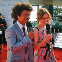 This year's red carpet live stream presenters Radzi Chinyanganya and Angela Scanlon