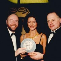 Guest, Catherine Zeta Jones and Robert Pugh at the 1992 BAFTA Cymru Awards Ceremony.