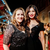 Gemma Chan and activist Laura Bates on the red carpet