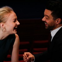 Sophie Turner and Dominic Cooper backstage