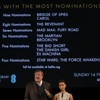 Stephen Fry and Gugu Mbatha-Raw announce the remaining categories at the nominations press conference for the EE British Academy Film Awards 2016.