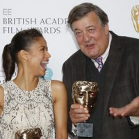 Gugu Mbatha-Raw and Stephen Fry at the nominations press conference for the EE British Academy Film Awards 2016.