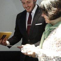 Sam Claflin with Pippa Harris, preparing backstage ahead of the EE British Academy Film Awards nominations announcement on 9 January 2015