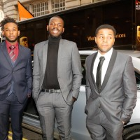 Breakthrough Brit Kayode Ewumi (centre) arriving at the event.