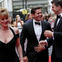 The three Downton Abbey cast members together on the red carpet before the BAFTA Downton Abbey Tribute event.