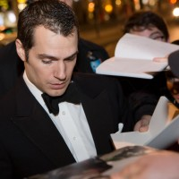 Henry Cavill signs autographs for fans outside BAFTA 195