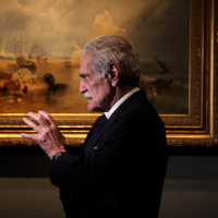 Omar Sharif deep in conversation after the event.