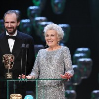 Julie Walters and Ralph Fiennes are welcomed to the stage to present the award for Outstanding Contribution: BBC Film
