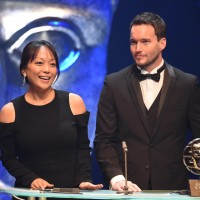 Citation readers Naoko Mori and Gareth David Lloyd present the Television Drama Award