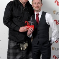 Pictured left to right - Martyn Robertson, Marty Docherty who won Factual for 'Marty Goes To Hollywood.'