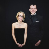 Gillian Anderson and Asa Butterfield backstage