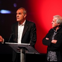Gary Raymond and John Cairney on stage at the BFI, London (BAFTA/Brian J Ritchie).