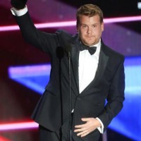 Actor and comedian James Corden delivered a humorous speech as he accepted the Britannia Award for British Artist of the Year presented by Burberry from actor Bryan Cranston.
