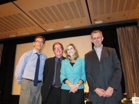 Paula Apsell, Ric Burns, Chris Carr, Stephen Segaller panelists at a BAFTA panel on the future of PBS