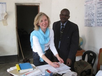 Gillian Rose with Headmaster in Malawi
